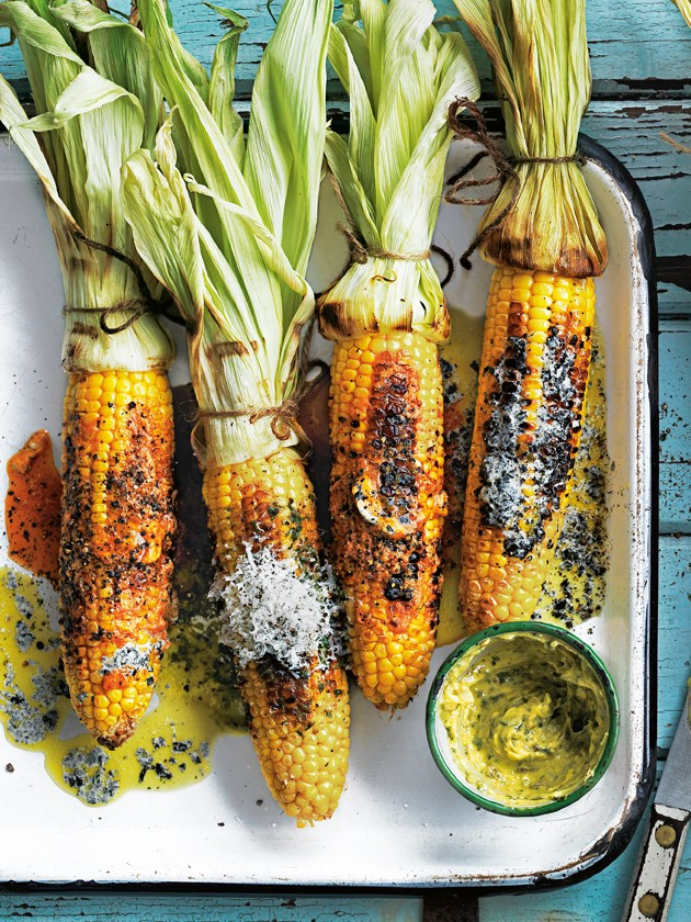Barbecued corn with trio of butters